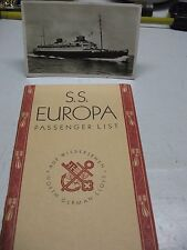 S S EUROPA  PASSENGER  LIST 1933  & RPPC POSTCARD  NORTH GERMAN LLOYD SUPER!!!
