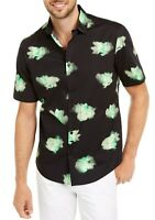 Alfani Mens Shirt Green Black Size XL Abstract Floral Button Down $55 036
