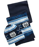 Club Room Mens Accessories Navy Blue One Size Animal Print Hat & Scarf $50 #296