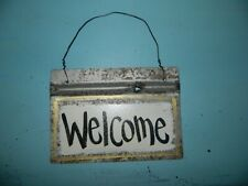 "Blackwater Folk Art Rustic Metal Tin ""WELCOME"" Sign Door Sign"