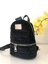 NWT bebe Margeaux Velvet Quilted mini black zip Backpack Black Bag E07-1035 $89