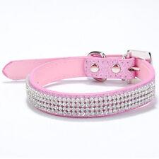 Bling Diamante Rhinestone PU Leather Cat Dog Collars Pink for Small Medium Dogs