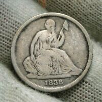 1838 O Seated Liberty Dime 10C  - Key Date, Nice Coin (61)
