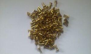 "Brass Plated ""Cymbal Sizzlers"" Split Rivets 1/8 Diameter x 5/16 Long x 7/32 Head"