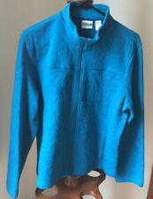 CHICOS Women's Blazer Jacket Textured Embroidered 100% Cotton Teal Blue Sz 1 (8)