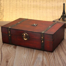 Vintage Jewelry Gift Box Wooden Treasure Trinket Retro Earring Storage Case HOT