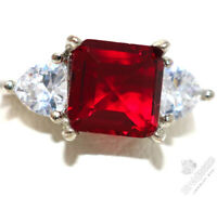 Sparkling Princess Cut Ruby Ring Women Anniversary Jewelry 14K White Gold Plated