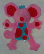 Manhattan Toy Pink Baby Mouse Plush Hand Puppet Blue Tummy Red Dots