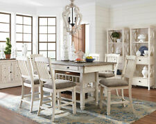Cottage White & Brown 7 pieces Dining Room Kitchen Set NEW Table and Chairs IC1G