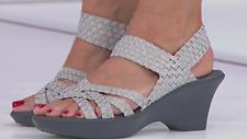 Steve Madden Torrist Woven Wedge Sandal, Silver, Size US 8
