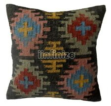 Indian Rustic Black Pillow Case Wool Jute Kilim Cushion Cover Handwoven Throw