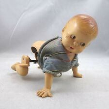 Vintage Irwin & Co. Hard Plastic Mechanical Wind-Up Crawling Toddler Baby Doll