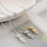 Women Elegant 925 Silver Plated Chain Cat Pendant Necklace Jewelry Charm Preciou
