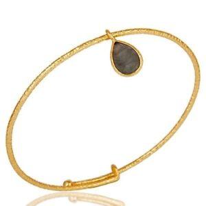 18k Gold Plated 925 Sterling Silver Natural Labradorite Bangle Bracelet Jewelry