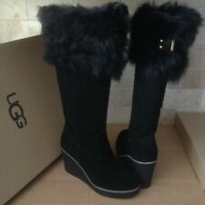 UGG VALBERG TOSCANA FUR CUFF BLACK SUEDE WEDGE TALL BOOTS SIZE US 10 WOMENS NEW