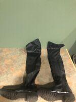 ZARA WOMEN'S BLACK OVER THE KNEE BOOTS SIZE 38/ US 7.5