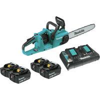 "Makita Brushless Cordless 14"" Chain Saw Kit w/4 Batteries (5.0Ah) XCU03PT1 New"