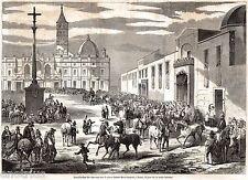 ROMA, Piazza Santa Maria Maggiore: BENEDIZIONE DEI CAVALLI. Stampa Antica. 1859