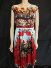 Unique Striking Warrior Print Satin Formal / Party Dress - Size 12 approx.