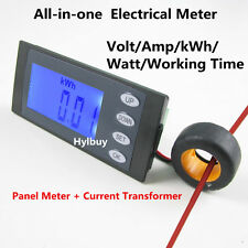 5 in 1 AC264V 100A Digital Combo Panel Meter Volt Amp kWh Watt Working Time + CT
