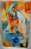 "ORIGINAL OIL PAINTING•Signed•  IMPRESSIONISM ART REALISM SIGNED •30""x17"""