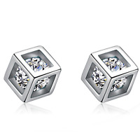 925 Sterling Silver Cube Square Stone Stud Earrings Womens Girls Jewellery Gift
