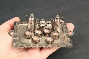 10pc Antique Miniature Dollhouse Mexican Sterling Silver Turquoise Teaset & Tray