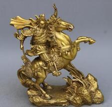 """10"""" China Brass Guan Gong Guan Yu Riding Horse Fengshui Statue"""