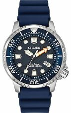 Mens Citizen Eco-Drive Promaster Blue Rubber Divers Watch With Date BN0151-09L