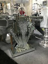 Art Deco mirrored silver crushed crystal mirror glass console table