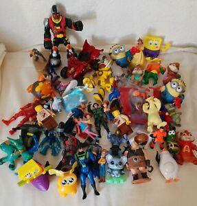 Huge LOT of 47 junk drawer toys McDonalds Burger King Disney Spongebob Minions