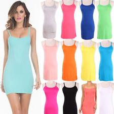 Stretchy!!!Summer Womens Spaghetti Strap Tank Tops Slip Mini Dress Camisole VEST