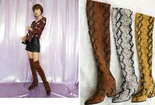 Fashion Serpentine Women Over the Knee Boots Stretch Fabric Animal Print Sewing