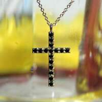 1.80Ct Round Cut Black Diamond Cross Pendant 14K White Gold Finish Free Chain