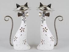 moderne photophore chandelier chats en céramique et métal blanc/argent H 29cm