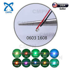 T0603 1608 SMD SMT Micro LED Diodes Pre Wired Soldered Warm White Red Blue Green