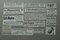 W2d) Konvolut 15x Werbung um 1903 Anzeigen Turnermarsch Trommel Diplome Theater