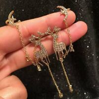 925 Silver Christmas Elk Crystal Long Tassel Earrings Stud Dangle Jewelry Women