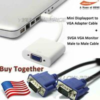 Mac Mini DisplayPort (Male) to VGA (Female) Adapter + 6FT SVGA VGA Monitor Cable