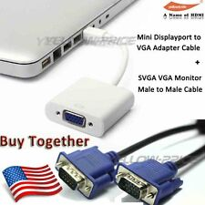 Mac Mini DisplayPort DP Thunderbolt to VGA Adapter + 6FT SVGA VGA Monitor Cable