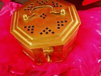"Solid Brass Octagon Trinket Box 5""W  3""H"