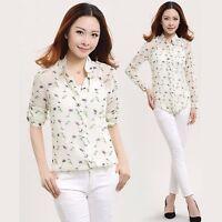 Women Casual Floral / Polka Dot Print T Shirt Chiffon Long Sleeve Blouse Tops
