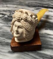 Vintage Estate Meerschaum Figural Pipe Woman W/ Ornate Headdress-Lightly Smoked!