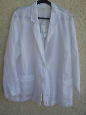 New Eileen Fisher 3X Irish Handkerchief Linen Notch Collar Panel Jacket White