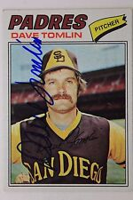 DAVE TOMLIN San Diego Padres Autographed 1977 TOPPS #241 Signed Card 16F