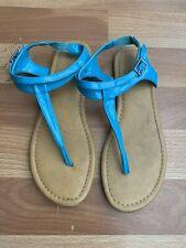Girls Shiny Turquoise Aqua Blue T-Strap Thong Sandals Dress Shoes Sz 3M