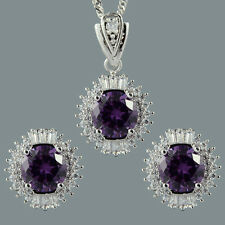 18K White Gold Gp Round Zirconia Purple Amethyst Earrings Necklace Jewelry Set