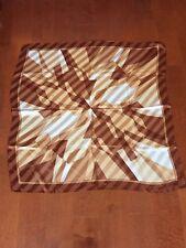 Authentic Valentino 100%  Silk Scarf Brown Caramel Cream Geometric Pattern