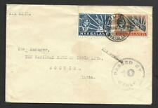 NYASALAND, 1942 WW11 CENSORED MAIL TO INDIA, CACHETS, BARCLAYS BANK.