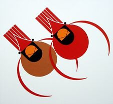 Charles/Charley Harper - CARDINAL COUPLE - Cert of Auth - Fun Bird Art